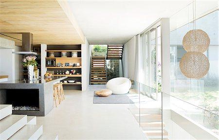Open floor plan of modern house Stock Photo - Premium Royalty-Free, Code: 6113-06753957