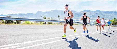 runner (male) - Runners in race on rural road Stock Photo - Premium Royalty-Free, Code: 6113-06753995