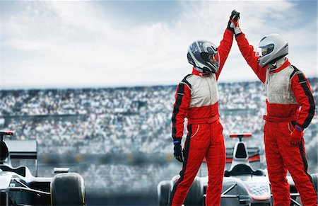 Racers cheering on track Stock Photo - Premium Royalty-Free, Code: 6113-06720852