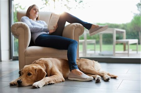 pet - Dog sitting with woman in living room Stock Photo - Premium Royalty-Free, Code: 6113-06720880