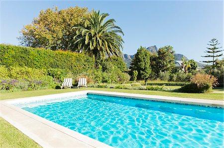 pool - Luxury swimming pool and garden Stock Photo - Premium Royalty-Free, Code: 6113-06898730