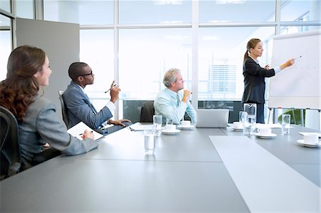 Businesswoman at flipchart leading meeting in conference room Stock Photo - Premium Royalty-Free, Code: 6113-06899155