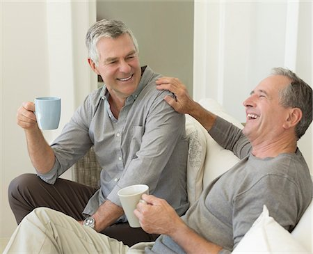 Senior men enjoying cup of coffee Stock Photo - Premium Royalty-Free, Code: 6113-07146829