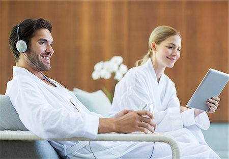 Couple relaxing at spa Stock Photo - Premium Royalty-Free, Code: 6113-07147368