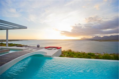 pool - Swimming pool overlooking ocean Stock Photo - Premium Royalty-Free, Code: 6113-07147810