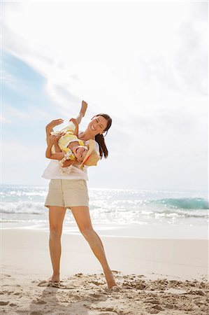 families playing on the beach - Mother playing with daughter on beach Stock Photo - Premium Royalty-Free, Code: 6113-07159681