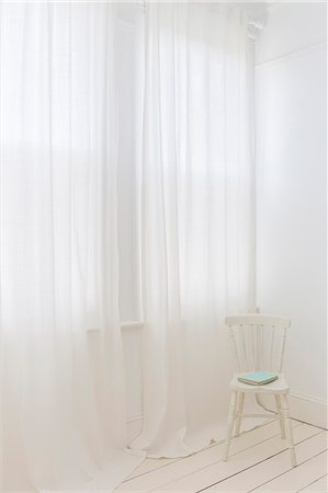 Sheer curtains in modern room Stock Photo - Premium Royalty-Free, Code: 6113-07160723