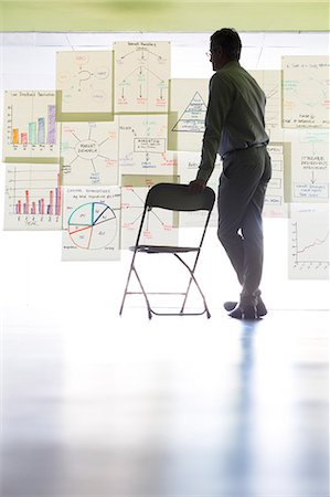 Businessman viewing charts and graphs on office wall Stock Photo - Premium Royalty-Free, Code: 6113-07242197