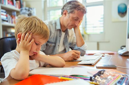 drawing computer - Father and son working in home office Stock Photo - Premium Royalty-Free, Code: 6113-07242979