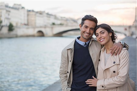 Couple walking along Seine River, Paris, France Stock Photo - Premium Royalty-Free, Code: 6113-07543664