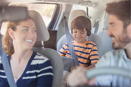 Happy family inside car Stock Photo - Premium Royalty-Free, Code: 6113-07565103