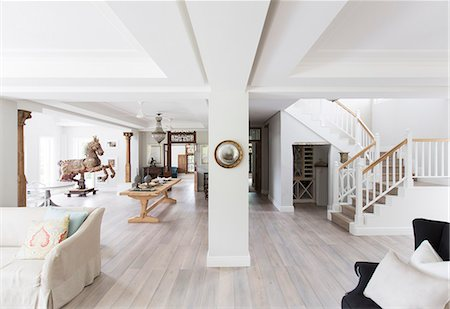 designs - Open floor plan in luxury house Stock Photo - Premium Royalty-Free, Code: 6113-07565236