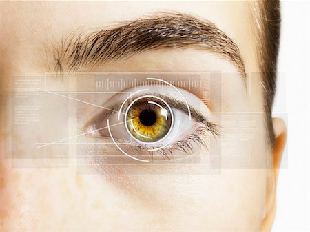 security - Extreme close up of retina scanner over hazel eye Stock Photo - Premium Royalty-Free, Code: 6113-07565305