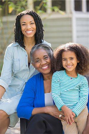 Portrait of smiling multi-generation women outdoors Stock Photo - Premium Royalty-Free, Code: 6113-07565469