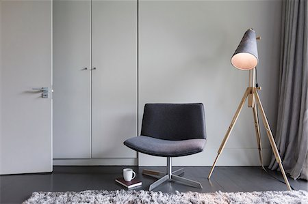 Modern chair and lamp Stock Photo - Premium Royalty-Free, Code: 6113-07565738