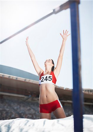 sports - High jumper celebrating on other side of bar Stock Photo - Premium Royalty-Free, Code: 6113-07588747