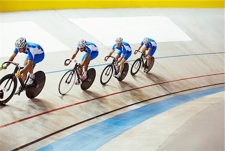 Track cycling team riding in velodrome Stock Photo - Premium Royalty-Free, Code: 6113-07588731