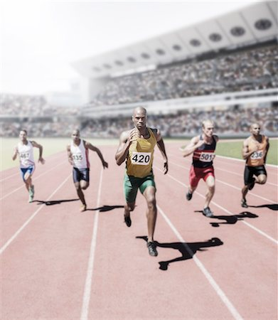 sprint - Runners racing on track Stock Photo - Premium Royalty-Free, Code: 6113-07588732