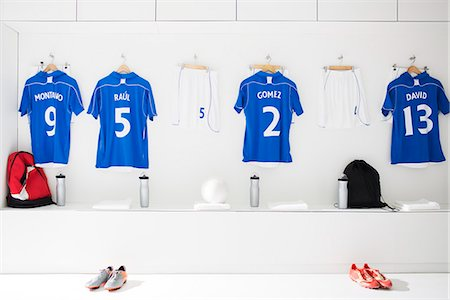 sports - Soccer team uniforms in locker room Stock Photo - Premium Royalty-Free, Code: 6113-07588828