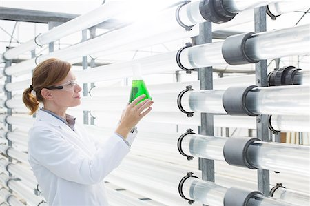 Scientist with beaker in greenhouse Stock Photo - Premium Royalty-Free, Code: 6113-07589131