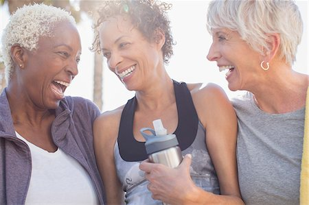 senior women - Senior women laughing in sportswear Stock Photo - Premium Royalty-Free, Code: 6113-07589342