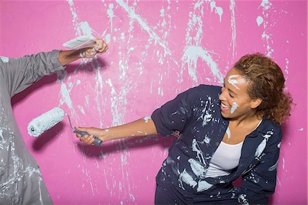 paint - Couple playing with paint Stock Photo - Premium Royalty-Free, Code: 6113-07762207