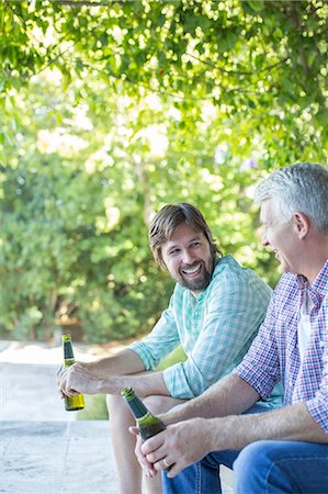 father with two sons not girls - Father and son drinking outdoors Stock Photo - Premium Royalty-Free, Code: 6113-07762223