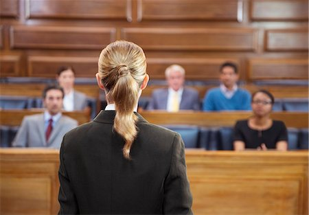 Lawyer pleading case to jury in court Stock Photo - Premium Royalty-Free, Code: 6113-07762468