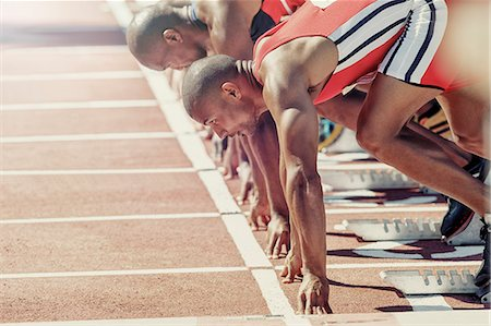sprint - Runners ready at starting block Stock Photo - Premium Royalty-Free, Code: 6113-07730612