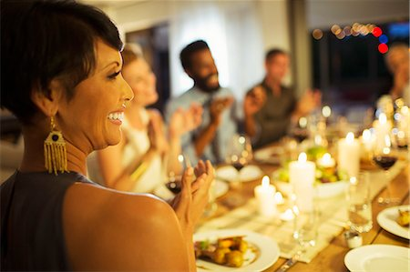 elegant - Friends applauding at dinner party Stock Photo - Premium Royalty-Free, Code: 6113-07730845