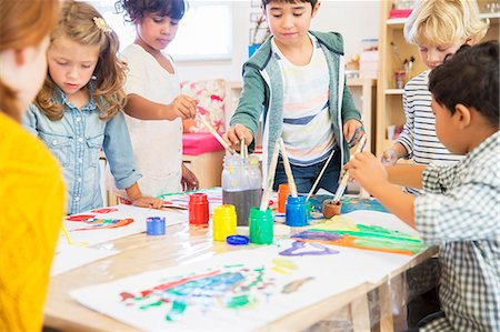 painting - Students painting in classroom Stock Photo - Premium Royalty-Free, Code: 6113-07731140