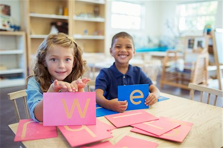 photography - Students holding letters in classroom Stock Photo - Premium Royalty-Free, Code: 6113-07731183
