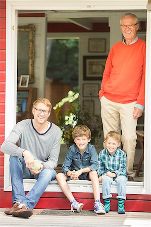 person - Brothers smiling with father and grandfather Stock Photo - Premium Royalty-Free, Code: 6113-07906348