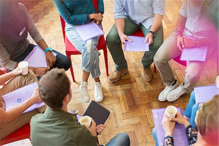 Group therapy session forming circle Stock Photo - Premium Royalty-Free, Code: 6113-08087956