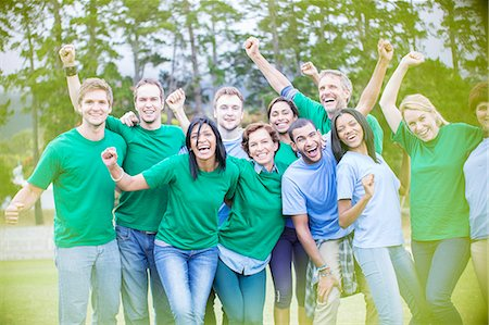 Portrait of enthusiastic team cheering Stock Photo - Premium Royalty-Free, Code: 6113-08087980