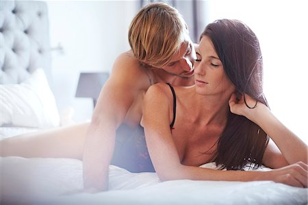 romantic couple bed - Sexy couple on bed Stock Photo - Premium Royalty-Free, Code: 6113-08171410