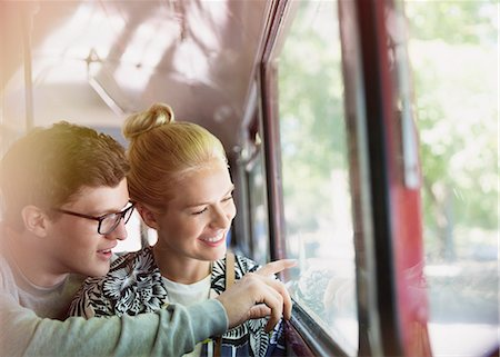 Couple drawing on bus window Stock Photo - Premium Royalty-Free, Code: 6113-08321214