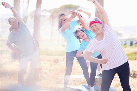 fit people - Senior adults practicing yoga in sunny park Stock Photo - Premium Royalty-Free, Code: 6113-08568732