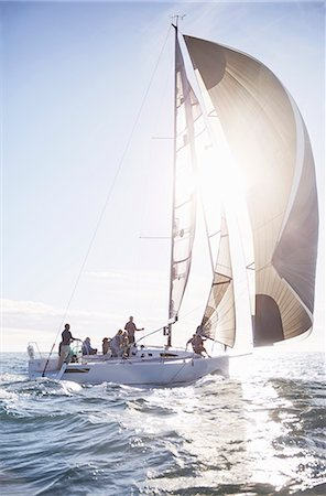 Sailboat on sunny ocean Stock Photo - Premium Royalty-Free, Code: 6113-08698120