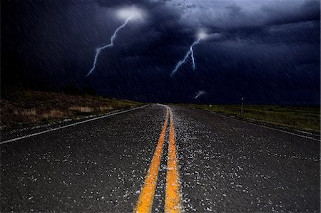 storm lightning - Lightning and hail on a road Stock Photo - Premium Royalty-Free, Code: 6114-06594922