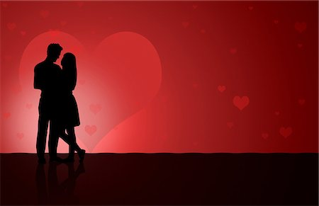 Illustation of a silhouetted couple dancing Stock Photo - Premium Royalty-Free, Code: 6114-06594934