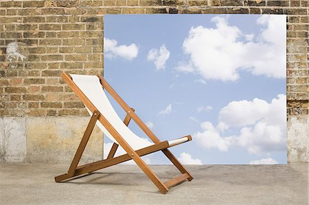 Deckchair and sky backdrop Stock Photo - Premium Royalty-Free, Code: 6114-06596536