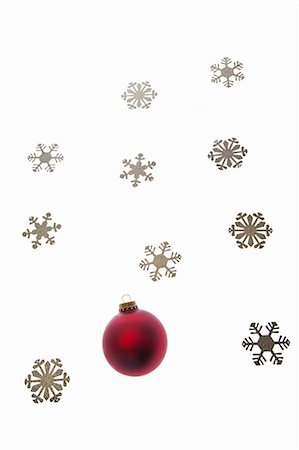 snowflakes  holiday - Bauble and snowflake decorations Stock Photo - Premium Royalty-Free, Code: 6114-06596720