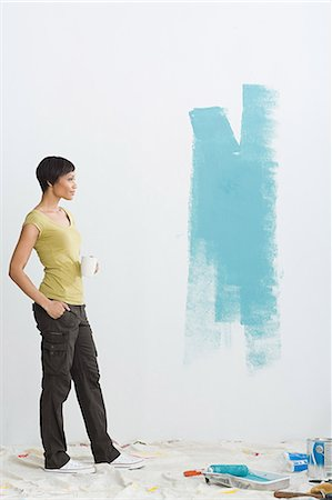 painted - Woman and paint on wall Stock Photo - Premium Royalty-Free, Code: 6114-06598033