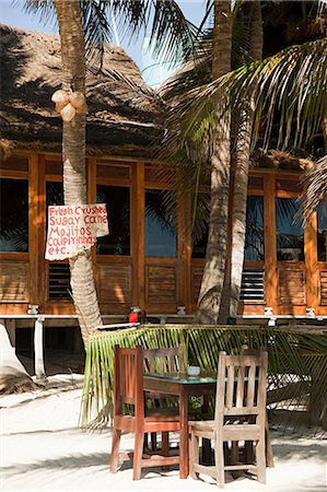 Beach hut cafe with sign in Quintana Roo, Caribbean Stock Photo - Premium Royalty-Free, Code: 6114-06601248