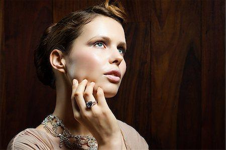diamond - Young woman wearing ring, portrait Stock Photo - Premium Royalty-Free, Code: 6114-06601688