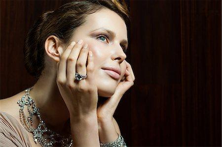 diamond - Young woman wearing ring, portrait Stock Photo - Premium Royalty-Free, Code: 6114-06601706