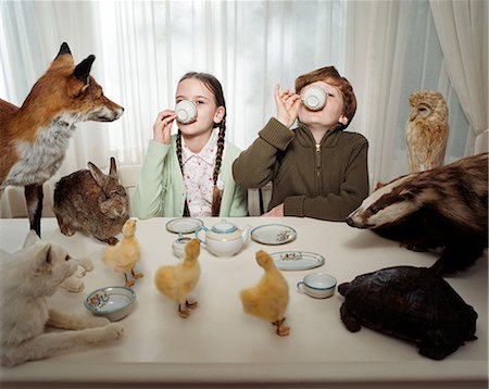 preteen girl pussy - Children having a tea party with animals Stock Photo - Premium Royalty-Free, Code: 6114-06607701
