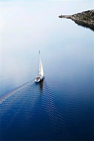 sailboat  ocean - Croatia, Sailboat on the move, aerial view Stock Photo - Premium Royalty-Free, Code: 6115-06732862