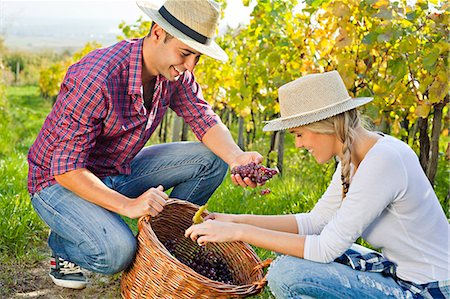 Grape harvest, young couple checking grapes, Slavonia, Croatia Stock Photo - Premium Royalty-Free, Code: 6115-07282913